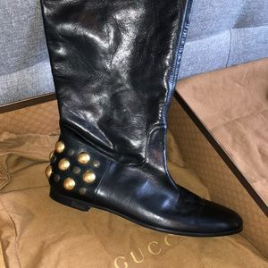 Authentic Gucci Studded Leather Boots